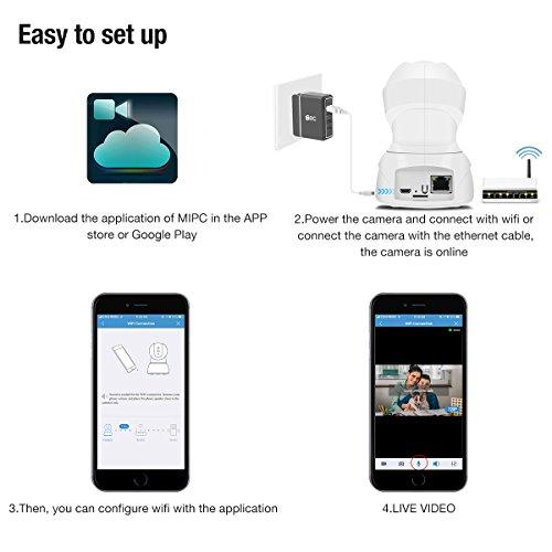 720P HD Wireless Wlan/Wifi IP Kamera von EC Technology Schwenkbare Indoor Baby Monitor Heim Home Security Überwachungskamera mit Bewegungserkennung - 2