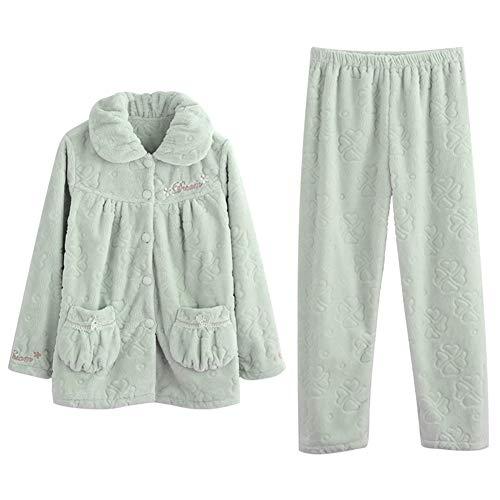 LLRCAZR Pyjamas Coral Velvet Pyjamas Herbst Winter Long Sleeve Verdickung Anzug Flanell Home Kleidung Large Code Prinzessin, Light Green, XXL