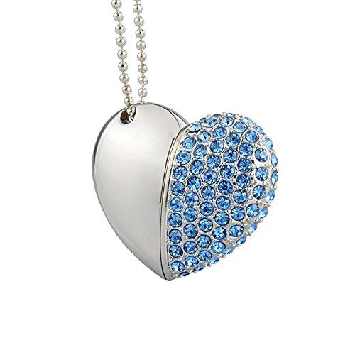 Maxinda gioielli cuore chiavetta usb 16 gb 2.0 di metallo memoria usb con cordino e borsa regalo (blu cuore)