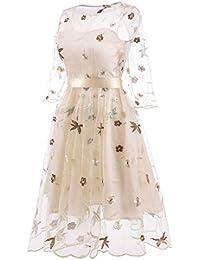 ZYUEER Vestido Princesa del Vintage del Vestido del OscilacióN del Partido del O-Cuello del