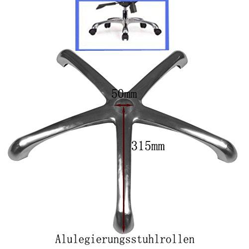 Loywe Alu Fusskreuz mit grauen Rollen Drehkeuz für Drehstuhl Bürostuhl LW001 (Bürostühle Mit Rollen)