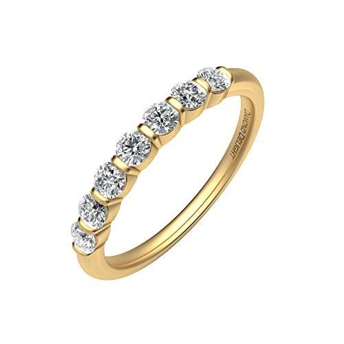 Diamond Delight da donna 18 K, 7 canali di pietra, SI1-Anello nuziale SI2, 1/3 ct e Oro giallo, 13,5, cod. RG34543-SI1SI2-18KY-7