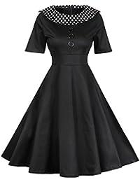 MISSMAO Mujer Retro Vestido Estampado Vintage Vestidos Plisado 1950s Rockabilly para Banquete Casual