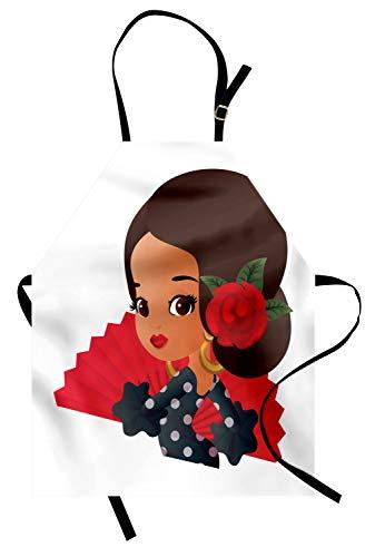 ABAKUHAUS Spanisch Kochschürze, Chibi Charakter im Flamenco-Kostüm mit Rose Flower auf ihrem Haar Mädchen Cute Cartoon, Farbfest Höhenverstellbar Waschbar Klarer Digitaldruck, ()