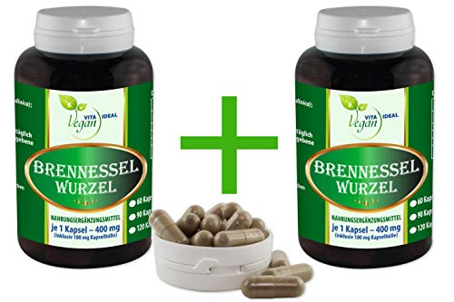 """VITAIDEAL VEGAN®""""MEGA-SPAR-POT"""" Brennessel Wurzel 2x360 pflanzliche Kapseln je 400 mg, rein natürlich ohne Zusatzstoffe."""