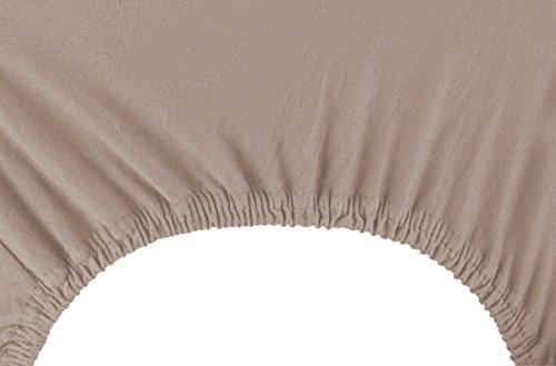 DecoKing 18248 80x200-90x200 cm Spannbettlaken Cappuccino 100% Baumwolle Jersey Boxspringbett Spannbetttuch Bettlaken Betttuch beige Amber Collection - 6