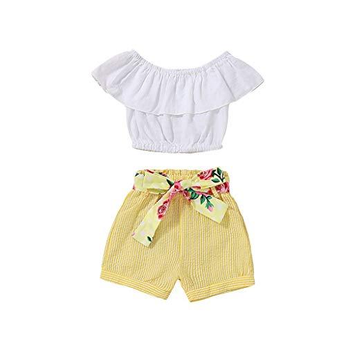 Muamaly Baby Mädchen T-Shirt Ärmellos Bluse Tops + Kurze Hose Shorts Outfit 2 Stück Prinzessin Kleinkind Kleidung Set