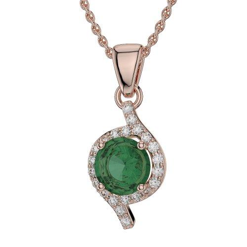 Or Rose 18carats 2.50CT G-H/VS sertie de diamants ronds Forme Émeraude et colliers Agdnc-1076