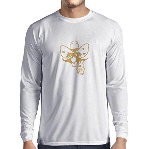 Langarm Herren t Shirts Lustiger Cowboy Oben - Vintage westliche Kleidung (Small Weiß Gold)