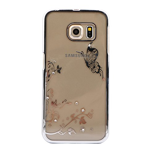 Handy Hülle mit Motiven Glitzer Strass von ZhinkArts für Apple IPhone 6/6S M4 Love Gold M19 Schmetterling Silber