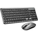PATUOXUN Wireless Keyboard and Mouse Set【Scissor Key Design】 Ergonomic Comfortable 2.4G Cordless Keyboard & Mouse Combo with Longer Battery Life for Computer PC Apple Mac Windows - QWERTY, UK Layout