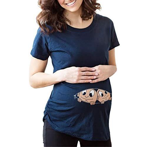 Mutterschaft T-Shirt Damen Sommer Kurzarm Umstandsmode T-Shirts Cute Mutterschaft Kleidung Lustige Witzig Spähen Baby Gedruckt Baumwolle Schwangerschaft Tops (Kurzarm-pullover Navy)