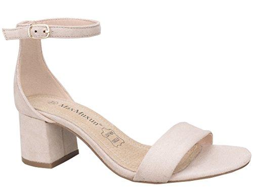 MaxMuxun Zapatos de Tacón Beige Cotidiano Agradable Actividad de Fiesta para Mujer Tamaño 38 EU