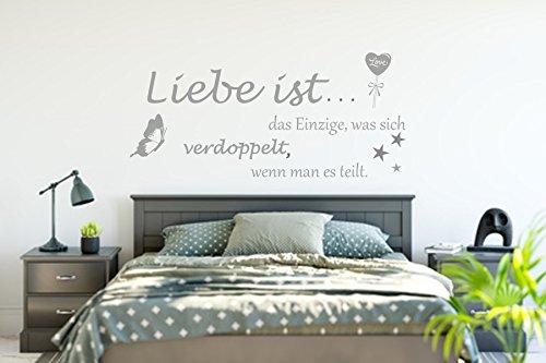 Wandschnörkel ® WANDTATTOO Wandaufkleber AA150 Liebe ist das Einzige, was sich verdoppelt...Wanddekoration Schlafzimmer Wohnzimmer Farbe./Größenauswahl Wandaufkleber
