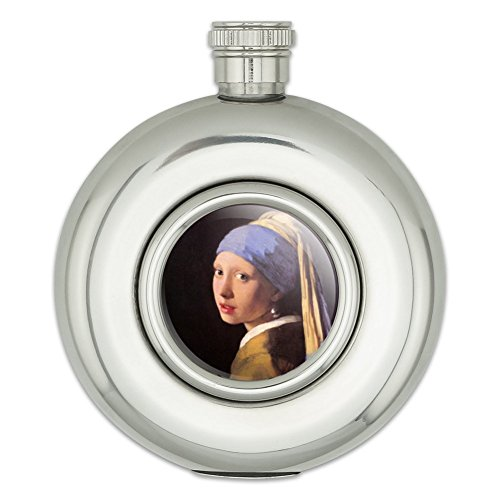Runde Edelstahl Flachmann Kunst Gemälde The Girl With The Pearl Earring Vermeer