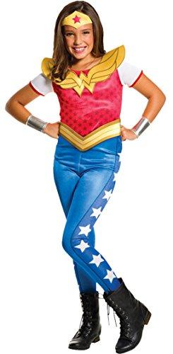 erdbeerloft - Mädchen Karneval Kostüm Wonder Woman, Mehrfarbig, Größe 110-122, 5-7 Jahre
