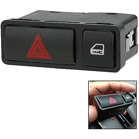 KKmoon Interruptor de Luz de Advertencia de Peligro Interruptor Intermitente de Emergencia Interruptor de Bloqueo de Puerta Cerradura Central para BMW E46 E53 E85 X5