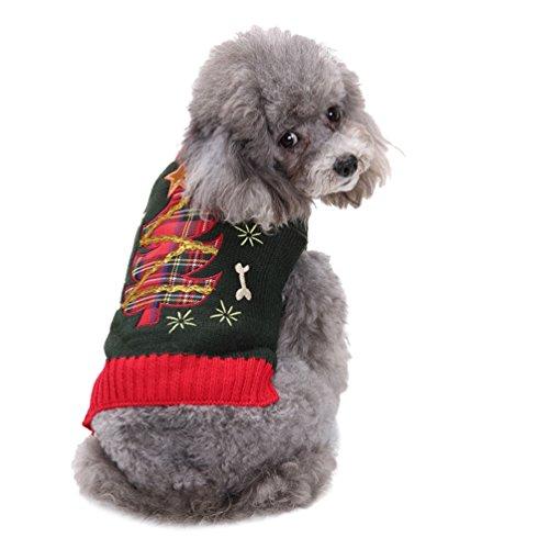 LvRao Welpe Kostüm Strickpullover Pulllover Ärmellos Weihnachtsbaum Gedruckt Klein Hund Katze Haustierkleidung Sweater (Grau, (Weihnachtsbaum Passen)