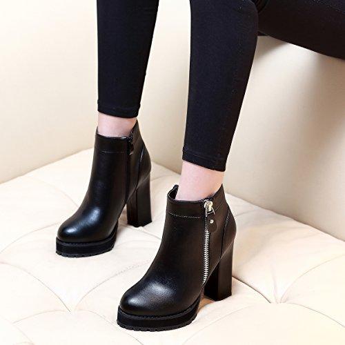 Lgk&faprimavera donna stivaletto primavera e inverno tacco alto scarpe nero testa rotonda stivaletti stivali donna cilindretto corto stivali,37 nero