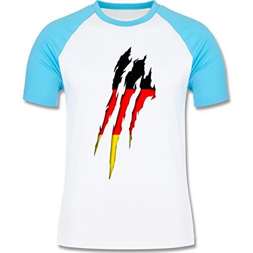 Länder - Deutschland Krallenspuren - zweifarbiges Baseballshirt für Männer Weiß/Türkis