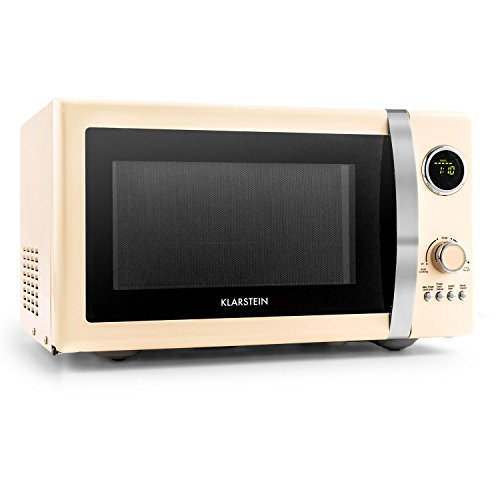 Klarstein Fine Dinesty Retro Microwave Oven with Grill Function Digital Display Timer (12 Programmes, 800W Microwave and 1000W Grill Power, 3 Defrost Levels)