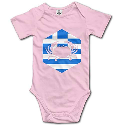 Abigails Home Krebs Griechenland Griechisch Neugeborenen GILR Jungen Kinder Baby Strampler Kurzarm Kleinkind Overall(2 T,Rosa) - Fleece Baby Sleeper