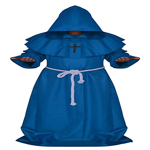NiQiShangMao Mittelalterlichen Mönch Halloween Kostüme Comic Con Party Cosplay Kostüm Mit Kapuze Roben Mantel Cape Friar Renaissance Priester Für Männer (Kostüm Der Comic Con)
