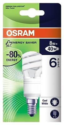 Osram 939753 Duluxstar Mini Twist E14 mini Energiesparlampe in gedrehter Form 8W/840, kaltweiss von Osram auf Lampenhans.de