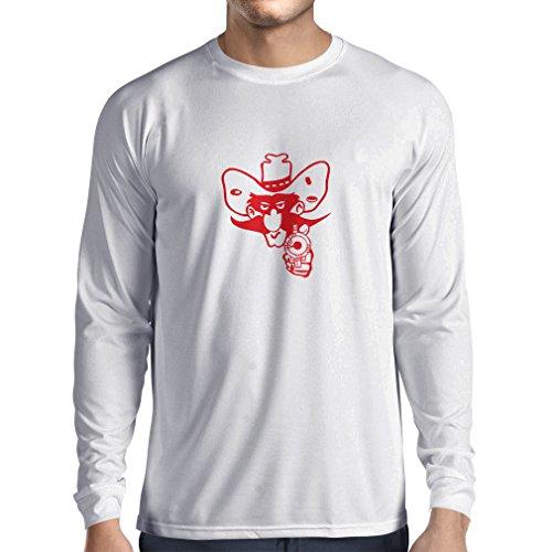 Langarm Herren t Shirts Lustiger Cowboy oben - Vintage Westliche Kleidung (XS Weiß Rote) (Logo Langarm-jagd-t-shirt)