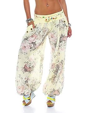 Moda Italy Pantalón bombacho, harem para mujer, Globo, Aladín, Verano, con Cinturón de tela, Floral