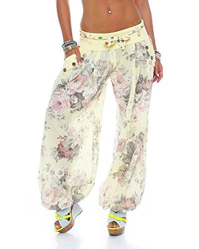 Moda Italy Damen Haremshose Pumphose Ballonhose Pluderhose Yogahose Aladinhose Harem Sommerhose mit Stoffgürtel Flower-Print, One Size Gr.36-42, Gelb