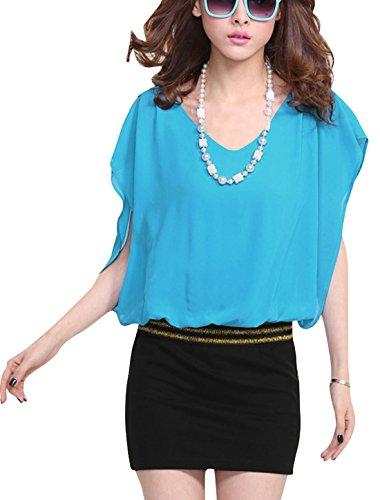 Sans manches pour femme en mousseline tranchage au-dessus du genou pour femme Robe élégante Bleu - Bleu clair