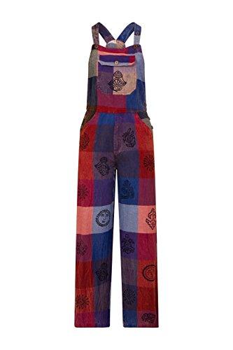 Damen Latzhose - Mehrfarbig Relaxed Fit Overalls bunte hippie Boho CASSANDRA-L/XL - 16/18