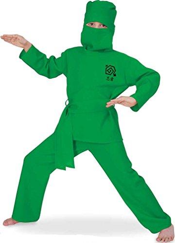 Kostüm Green Ninja Kind - Kostüm green Ninja, Ninja-Anzug 2-tlg. mit Maske, für Karneval, Fasching, Kindergeburtstag (128) (140)