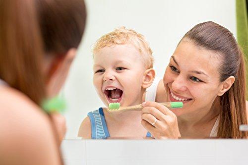 Weiche Bambus-Zahnbürste für Kinder | 4er Pack GRÜN | Für eine schönere und bessere Welt! - 5