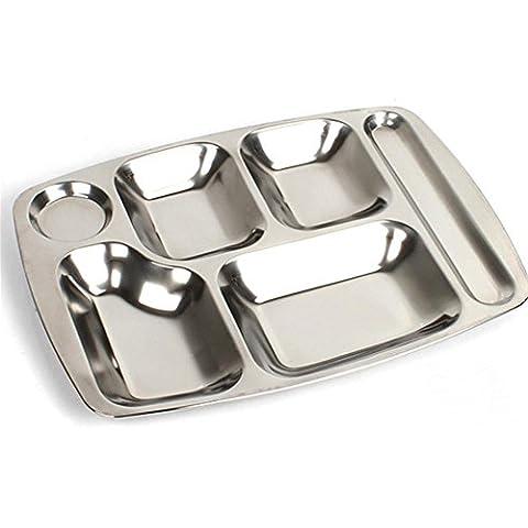 bandeja de cafetería seis grandes cuadrícula escuela placa de acero inoxidable placa de aperitivo engrosamiento no magnético