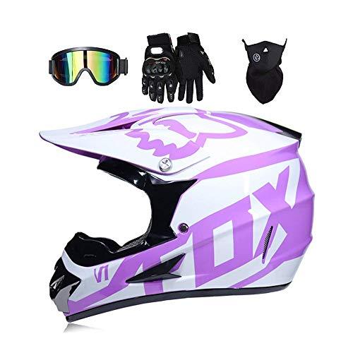 CHUDAN Frauen Off-Road Motorcycle Crosshelm mit Brille Handschuhe Maske, Motocross Full Gesicht Helm Herren DH Enduro Downhill Dirt Bikes ATV MTB BMX Quad Motorrad Offroad-Helm,Pink,S (Mädchen Motocross Helm)