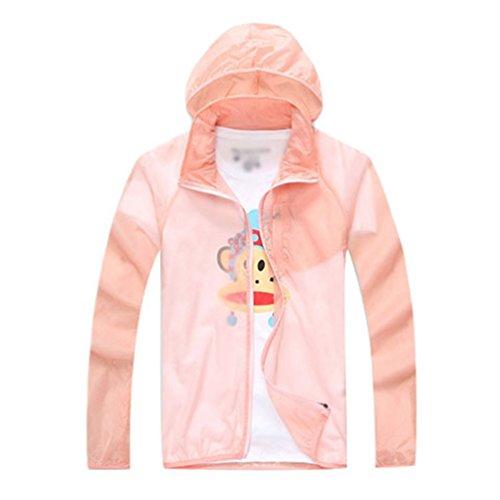 Yuanu Unisex Sommer Leichtgewicht Atmungsaktiv Reine Farbe Sonnenschutz Jacke Outdoor Sport UV-Schutz Lange Ärmel Haut Windjacke Mit Kapuze Orange Rosa 2XL