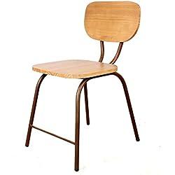 Decoración Vintage Kitchen - Silla de hierro óxido y madera, 40 x 48 x 45/83 cm