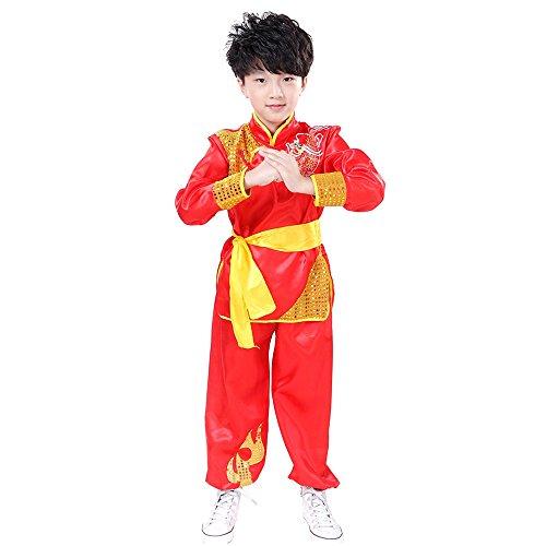 KINDOYO traje de Kung Fu de Unisex Sin Mangas / Manga corta Artes Marciales chino tradicional Disfraces con patrón de dragón