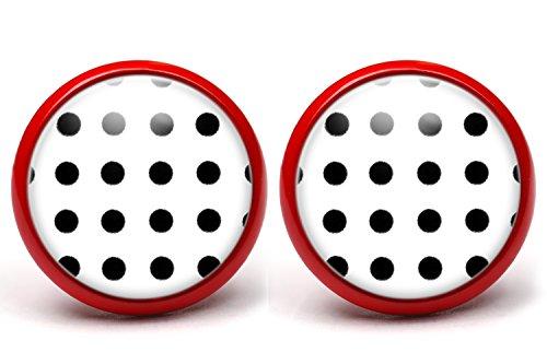 LA FABA Polka Dots Ohrstecker Polka Punkte schwarz auf weiß, Ohrringe gepunktet, Ø 14 mm Durchmesser, Rockabilly Schmuck Accessoire in Schmuckschachtel Etui (PP SaufW kl - rot)