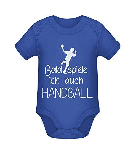 Babybody mit Aufdruck | Bald spiele ich auch Handball | Strampler Babybody von Shirtinator® Cobalt Blue 3-6 mths (Lustige Kleinkind-kleidung)
