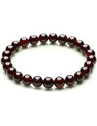 4b57ecbfefec Mujer Rojo Profundo Granate Pulsera con Piedras Naturales 8 mm