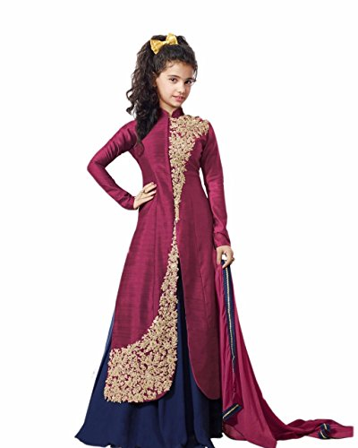 Fashion Duds Baby Girl\'s Semi-Stitched Embroidery Lehenga Choli (Baby Girl\'s_ 8-12 Years Girls_Free Size)