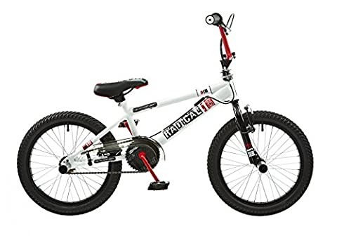 "18 ""BMX Rooster Radical avec rotor et Pegs, blanc/rouge"