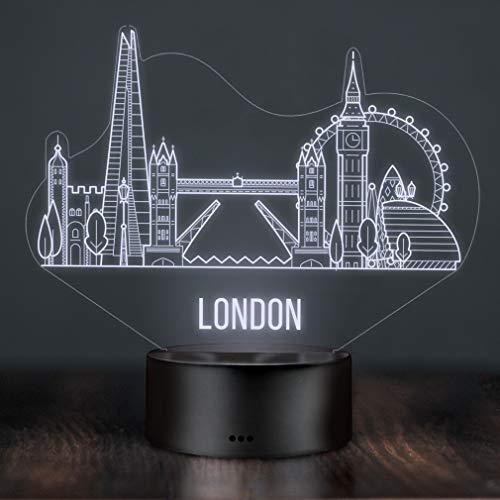 LED Deko Lampe London Skyline - Elbeffekt - England Deko - Reisen Travel Big Ben Buckingham Palace Tower Bridge London Eye London Souvenir Geschenk Andenken -