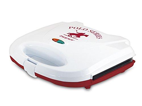 Beper 90.485H/RED Sandwichera tostadora, 700 W, Blanco y rojo.