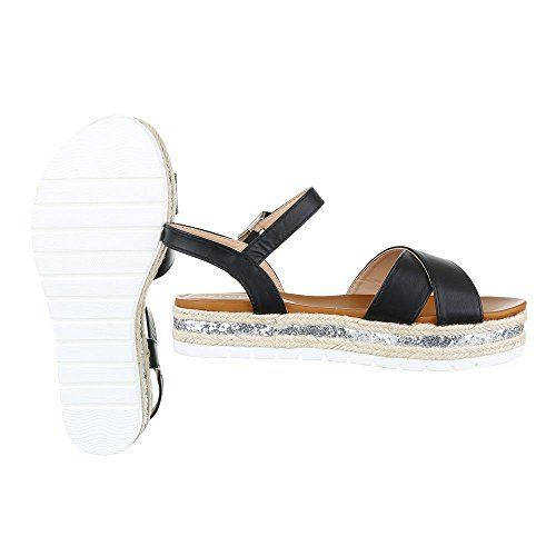 Ital-design Comfort Sandali Scarpe Da Donna Sandali Romani Sandali Con Cinturino Con Cinturino / Sandali Neri