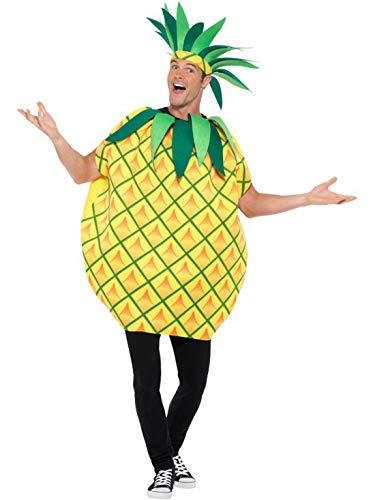Fancy Ole - Herren Männer Männer Frauen Ananas Pineapple Kostüm mit Overall Einteiler, perfekt für Karneval, Fasching und Fastnacht, M, Gelb