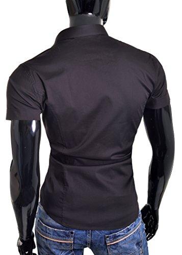 Redbridge Beiläufiges Hemd des dünnen Sitzkurzschlußhülse cyan weiß Schwarz der Männer NEU Schwarz